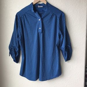 Vintage 70s Royal Blue Polka Dot Blouse Size M